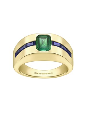 Emerald and Sapphire Cocktail Ring