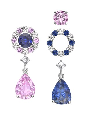 INTERCHANGEABLE SAPPHIRE DIAMOND EARRINGS