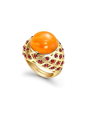 Fire Opal Bombe Ring